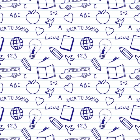 Back to school sketchy notebook doodles  Vector seamless pattern Vector