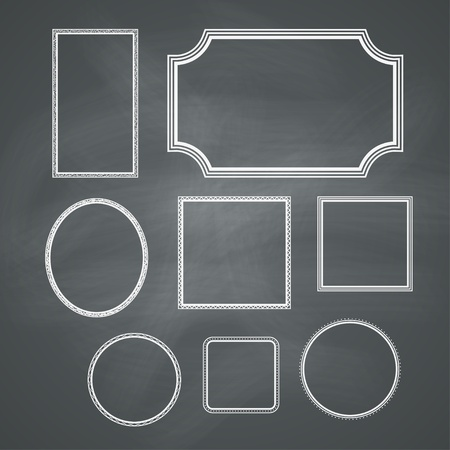 chalk board: Chalkboard retro background with frames  Vector collection Illustration