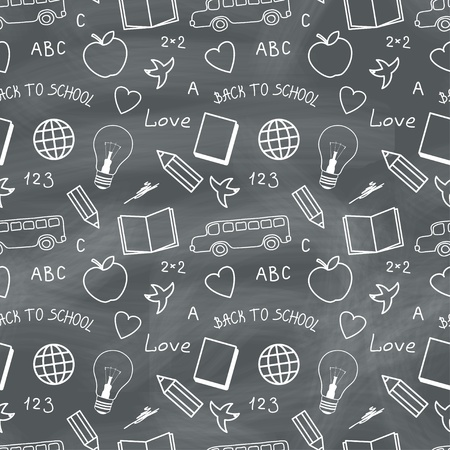 Back to school chalkboard with doodles  Vector seamless pattern Vector