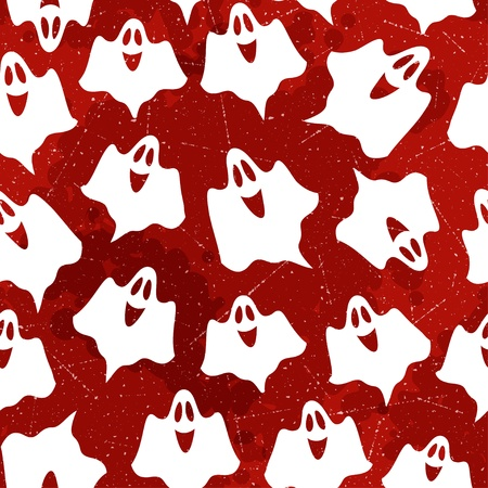 Halloween pattern with ghosts  Vector seamless texture Vector