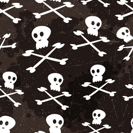 Halloween pattern with skulls and bones  Vector seamless texture Vector