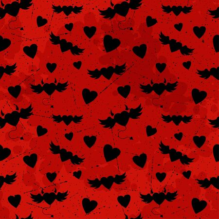 Halloween pattern with hearts  Vector seamless texture Vector