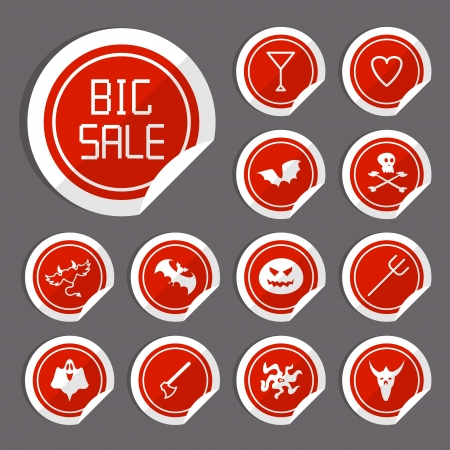 Halloween Sale Stickers  Vector flat design Vector