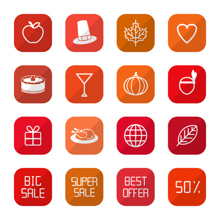 Sale Thanksgiving Icons Stock Vector - 22829274