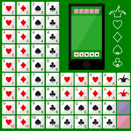 Playing cards. Vector flat game design for app