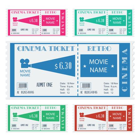 ticket vector: Entrada de cine retro. Ilustraci�n vectorial Vectores