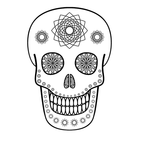 Vector illustration of skull with ornaments. Day of The Dead symbol Vector