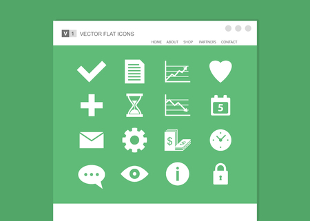 Set of web icons. Vector flat design Vector