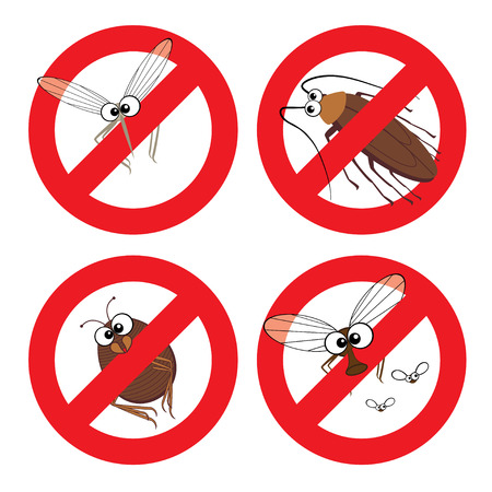 herbicide: Cartoon mosquito, cockroach, flea and fly in stop sign Illustration
