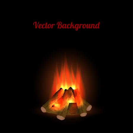 Bonfire on black background Vector
