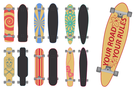 Set of skateboards and long boards