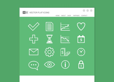 Set of web icons. flat design Vector