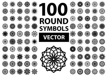 mandala flower: Round symbols set. 100 vector spirographs