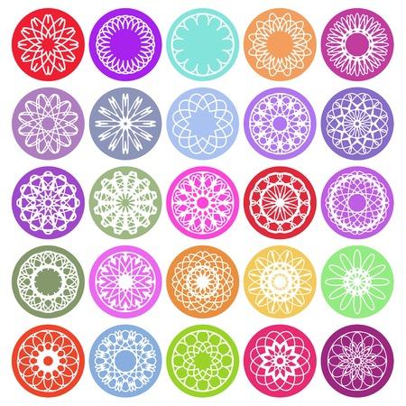 Round ornament set. Vector spirographs Vector