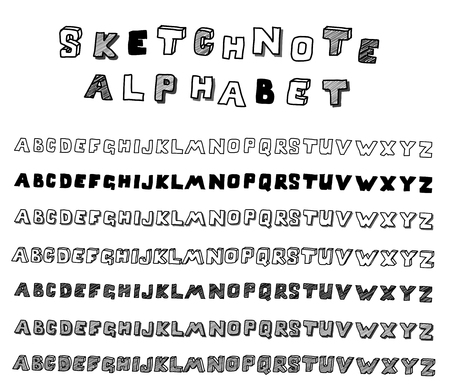 Hands drawing sketchnote alphabet. Vector collection Vector