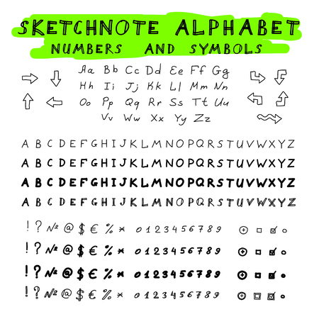 Hands drawing sketchnote alphabet. Vector set of letters, numbers and symbols Vector