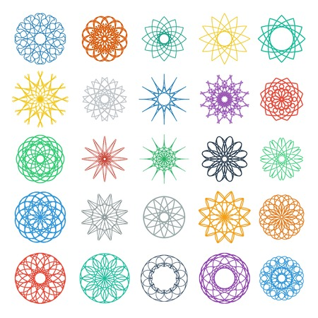 mandala tattoo: Round color ornament set. Vector spirographs collection