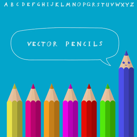 Colored pencils with sketchnote alphabet. Vector illustration Vector