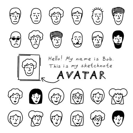 Hand drawn sketchnote faces. Vector avatars set Vector