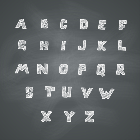 basic letters: Hand drawn alphabet on chalkboard. Vector set Illustration