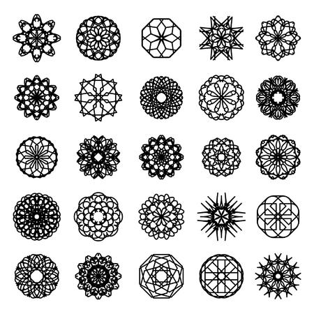 white napkin: Black round east ornament set. Vector spirographs
