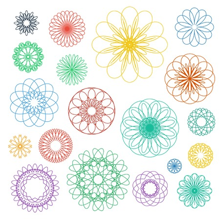 Round color ornament set. Vector spirographs collection Vector