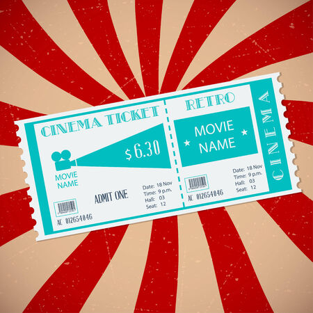 Retro cinema ticket. Vector illustration Vector