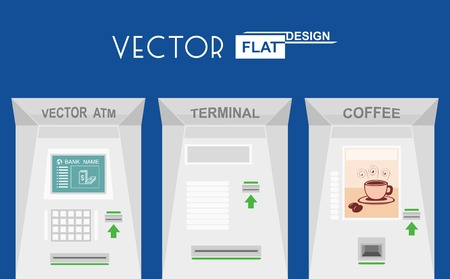 bankomat: Flat design atm, terminal, coffee. Vector illustration