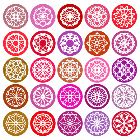Color round east ornament set. Vector spirographs Vector