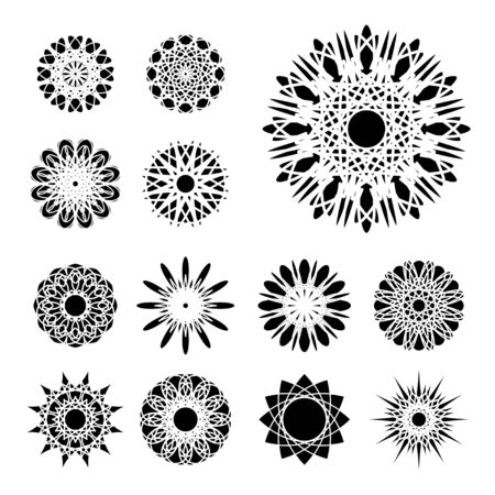 Black round east ornament set.  Vector