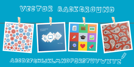 Background with hanging images and sketchnote alphabet.  Vector
