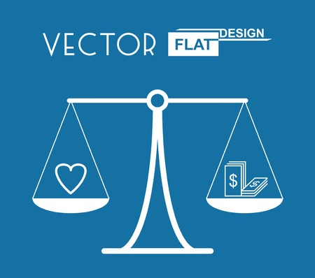 value system: Flat Balance Symbol with Heart and Money.