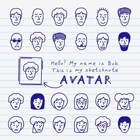 Hand drawn sketchnote faces  Vector avatars set Vector