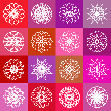 Color ornamental background with squares  Vector spirographs Vector
