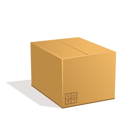 Cardboard box isolated on a white background  Vector illustration
