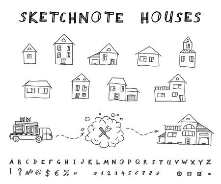 sip: Set of hand drawn houses  Vector sketchnote design Illustration