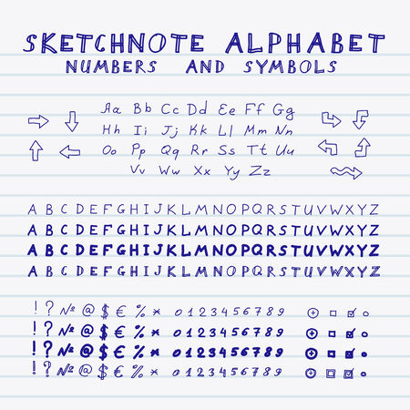 Hands Drawing Sketchnote Alphabet Vector Set Of Letters Numbers