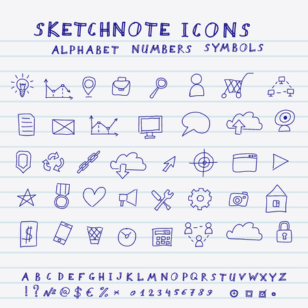 application recycle: Doodle Icons, Alphabet and Symbols Set  Vector skethnote collection