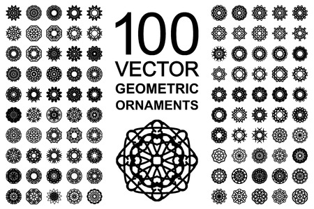 Round geometric ornaments set. 100 vector spirographs