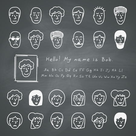bald cartoon: Hand drawn sketchnote faces. Vector avatars set on chalkboard