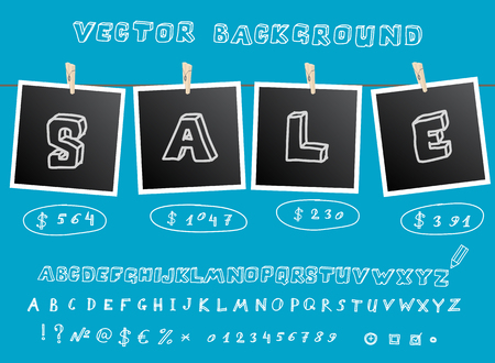 Sale background with hanging images and sketchnote alphabet. Vector illustration Vector