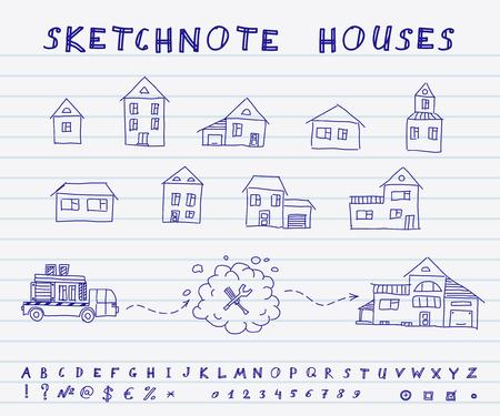 sip: Conjunto de casas dibujadas a mano. Vector dise�o Sketchnote
