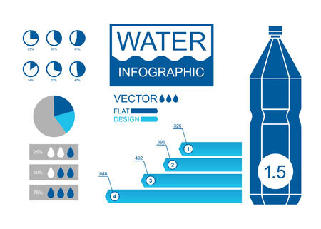 litre: Water infographic with plastic bottle and diagrams  Vector illustration