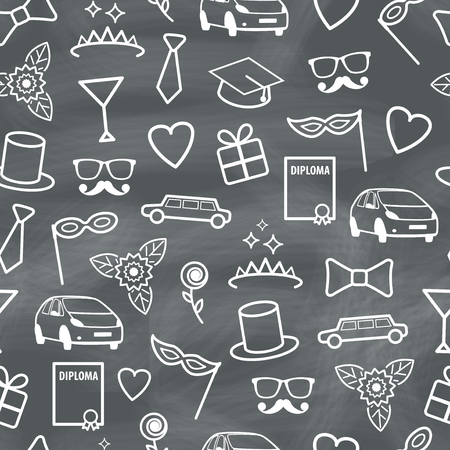 prom: Prom Seamless Texture with Carnival Objects  Vector Chalk Pattern