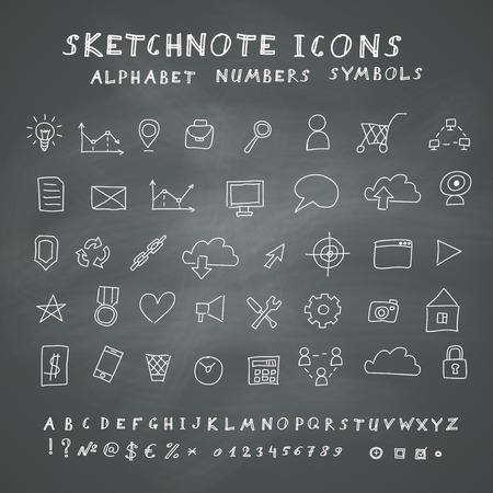 Doodle Icons, Alphabet and Symbols Set on Blackboard Background  Vector skethnote collection Vector