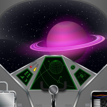 ships: Spaceship cabin  Vector spacecraft interior with the Saturn view
