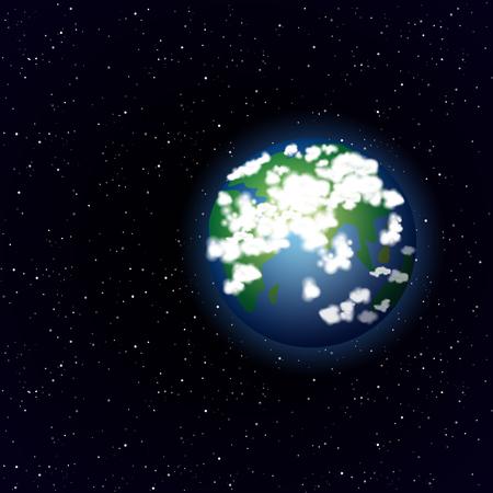 tierra caricatura: Planeta tierra de la historieta en el fondo del espacio abierto Vector