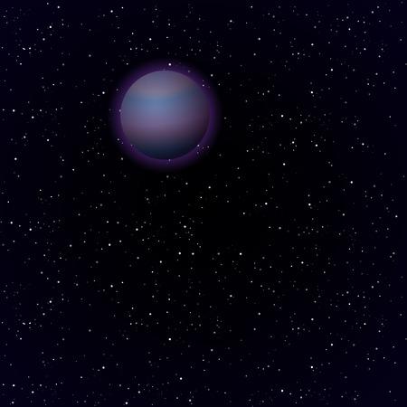 pluto: Cartoon Pluto planet in open space  Vector background