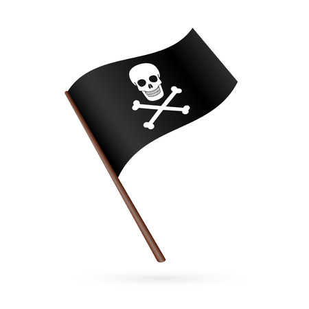 jolly roger pirate flag: Jolly Roger pirate flag isolated on a white background icon