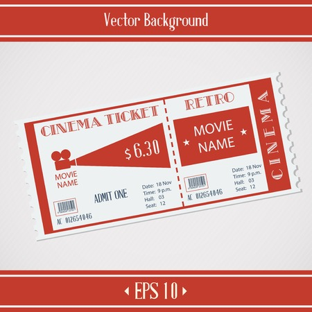 Red retro cinema ticket promo background  イラスト・ベクター素材